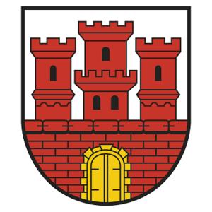Das Wappen der Stadt Steinheim besteht aus einer roten Statdmauer mit Zinnen und einem gelben Tor. Weiterhin sind drei Türme abgebildet, wobei der mittlere größer als die beiden äußeren Türme ist. Die kleineren Türme haben ein Fenster, der größere Turm drei Fenster.
